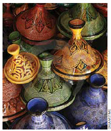 Tagines are served in conically shaped pottery such as this.