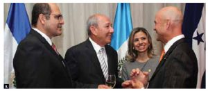 The embassies of Honduras, Guatemala, El Salvador and Costa Rica hosted a reception at the National Arts Centre to celebrate their independence days. From left, Salvadoran Ambassador Oscar Mauricio Duarte, Costa Rican Ambassador Luis Carlos Delgado Murillo, Honduran Ambassador Sofia Lastenia Cerrato and Guatemalan Ambassador Georges de La Roche. (Photo: Sam Garcia)