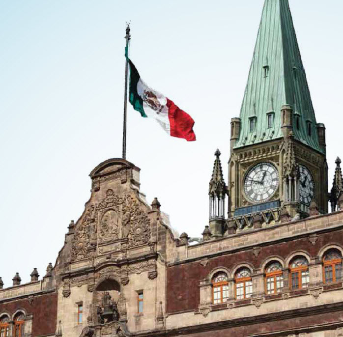 This photo illustration, which combines Canada's Peace Tower and Mexico's National Palace (the seat of the Mexican president and the federal executive), was produced by CIGI for its report, Forging a New Strategic Partnership Between Canada and Mexico