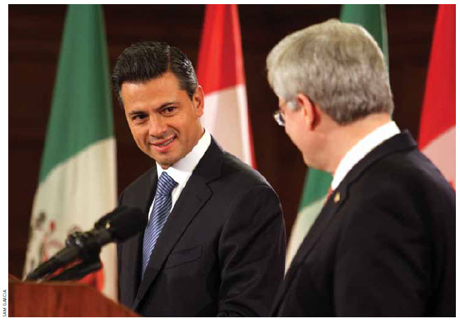 Even before Mexican President Enrique Peña Nieto was inaugurated, he visited Prime Minister Stephen Harper in Canada.