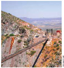 Ancient installations of the mine La Ojuela, in Mapimi Durango, Mexico. Mining continues to be an economic engine in the country.