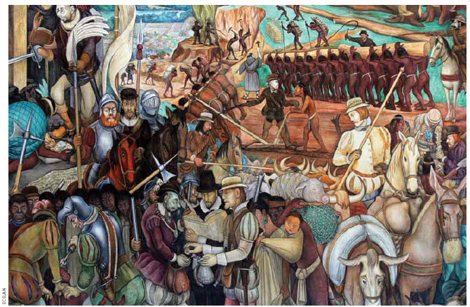 A Diego Rivera mural from the Palacio Nacional in Mexico City, titled Exploitation of Mexico by Spanish Conquistadors.