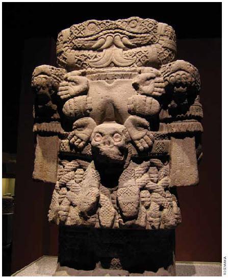 An Aztec statue of Coatlicue, the earth goddess. It resides at the Museo Nacional de Antropología in Mexico City.
