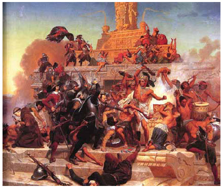 A painting by Emanuel Leutze depicting the storming of the Teocalli pyramid by Cortés and his troops.