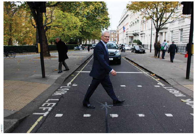 Canada's high commissioner to Britain, Gordon Campbell, re-creates the Beatles' famous Abbey Road photo.