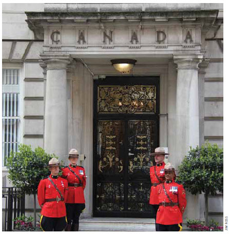 """Prime minister William Lyon Mackenzie King called Canada House, shown under the  protection of Mounties here, """"the finest site in London and, being in London, the finest in the world."""""""