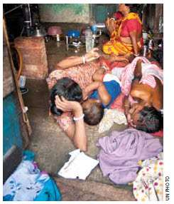 Poverty is still rampant in the slums of India.