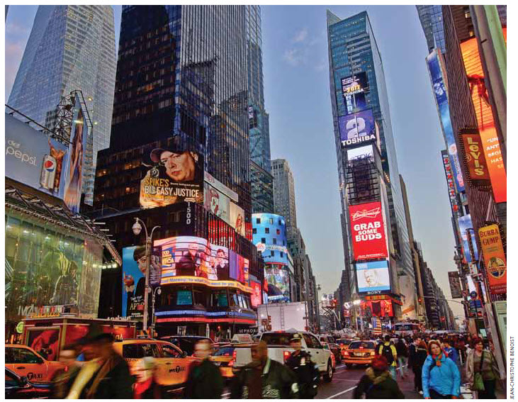 Times Square is a mass gathering place in the heart of Manhattan.