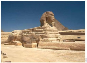 The Great Sphinx, a mythical creature that is part lion, part human, was built next to the Great Pyramids of Giza.