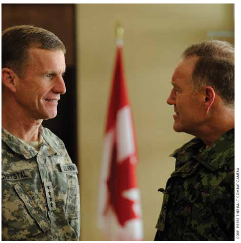 U.S. Gen. Stanley McChrystal (shown with Canada's then Chief of Defence Gen. Walter Natynczyk) was NATO's commander in Afghanistan. Gen. McChrystal said that, if he could, he'd put his troops under Canadian command because Canadians understood counterinsurgency.