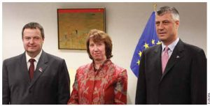 Catherine Ashton, the EU's high representative for foreign affairs, facilitated talks between Serbian Prime Minister Ivaca Dacic, left, and Kosovo Prime Minister Hashim Thaçi.