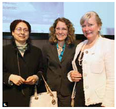 Narinder Chauhan, deputy high commissioner of India, Meg Beckel, CEO of the Museum of Nature, and Norwegian Ambassador Mona Elisabeth Brother at the opening of Extraordinary Arctic at the Museum of Nature.