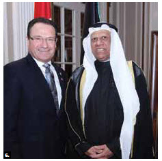Kuwaiti Ambassador Ali Al-Sammak hosted a national day reception at the Château Laurier. He's shown with Conservative MP Harold Albrecht. (Photo: Sam Garcia)