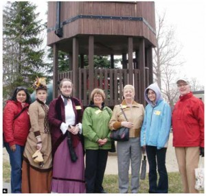 The International Women's Club of Ottawa held its walk and talk program in Stittsville, complete with tour guides dressed in period costume. Lis Moeljawan (of Indonesia), tour guides Tracy Donaldson and Sarah Rathwell, Gail Everest, Helen Carrigy-McCaffrey, Gina Mazzolin and Kate Briscoe.