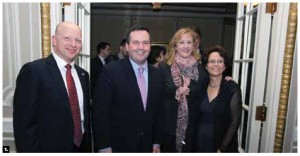 Israeli Ambassador Miriam Ziv hosted a reception to celebrate her country's independence day at the Château Laurier. From left, Eliaz Luf, deputy head of mission, Citizenship Minister Jason Kenney, Labour Minister Lisa Raitt and Ms Ziv. (Photo: Sam Garcia)