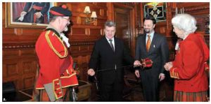 The 78th Fraser Highlanders Pipe & Drum Corps and Honour Guard hosted a reception to welcome Macedonian President Gjorge Ivanov, middle left. Also in attendance, from left, Bruce MacRae, Macedonian Ambassador Ljuben Tevdovski and Grete Hale.