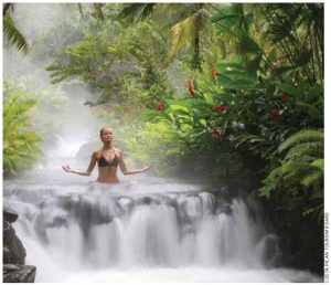 Tabacón Grand Spa Thermal Resort is a five-star hotel at the foot of Arenal Volcano in the heart of the tropical rainforest. The thermal springs emerge from the volcanic earth, cascading to form waterfalls.