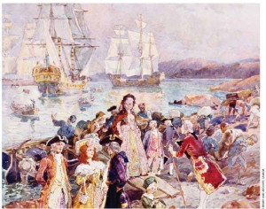 A painting showing a romanticized view of the United Empire Loyalists arriving in New Brunswick circa 1783.