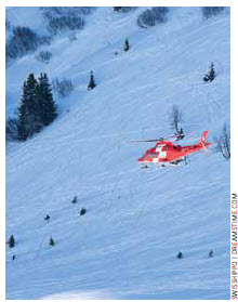 A Swiss helicopter makes a rescue. The country has one of the lowest child mortality rates and highest life expectancies.