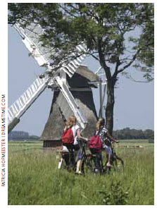 Biking is a typical Dutch method of  transport for adults and children.