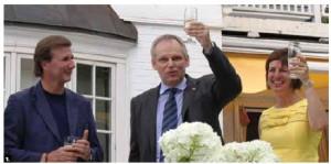 Belgian Ambassador Bruno van der Pluijm hosted a reception at his residence to mark the country's National Day. From left, Denis Robert, Canada's ambassador to Belgium, Mr. van der Pluijm and his wife, Hildegarde van de Voorde.