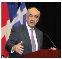 Greek Parliament speaker Evangelos Meimarakis spoke at a reception held in his honour. (Photo: Sam Garcia)