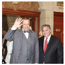 Tooms Hendrik Ilves, president of Estonia, visited Ottawa in the spring. He's shown entering the centre block with MP Peter Van Loan, who hosted a reception in his honour. (Photo: Ulle Baum)