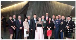 The opening gala of the weekend to honour Korean War veterans took place at the Canadian War Museum. From left, Brigitte D'Auzac de Lamartinie of Historica Canada; Alex Herd, researcher for Historica Canada; James Witham, director-general of the war museum; Lee Yang, Korean Ambassador Cho Hee-yong; Choi Wan-Geun, of the Patriots and Veterans Affairs for Korea; Young-Hae Lee, president of the Canada Korea Society; Doug Finney, president-elect of the National Korean Veterans Association (KVA); former Veterans Affairs minister Steven Blaney; Senator Yonah Martin; Senator Joseph Day; Korean military attaché Col. Soo-Wan Lee; former Canadian trade commissioner Robert C. Lee; Col. David Clark of the U.S. Department of Defense; MP Chungsen Leung and the piper for the evening. (Photo: Sam Garcia)