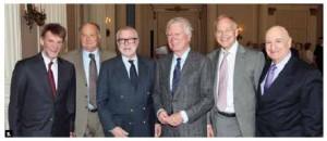 Ken Taylor, Canada's former ambassador to Iran, spoke at a Carleton University alumni association lunch. From left, retired Canadian diplomats Chris Westdal, Craig MacDonald, Rick Kohler, Ken Taylor, Malcolm McKechnie, Lawrence Lederman. (Photo: Mike Pinder)