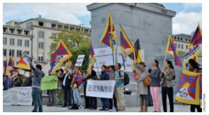 Tibetan activists demonstrate in Brussels for a free Tibet.