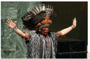 Nilson Tuwe Huni Kuı˜, an indigenous leader from the Western Amazon in Brazil, delivered an invocation at World Interfaith Harmony Week at the United Nations in February.