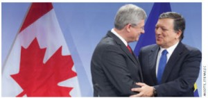 Prime Minister Stephen Harper and José Manuel Barroso, president of the European Commission, announce they reached a political agreement on the key elements of CETA.