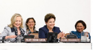 Hillary Rodham Clinton (left), with Brazilian President Dilma Rousseff and Trinidad and Tobago Prime Minister Kamla Persad-Bissessar at a UN event on gender equality.
