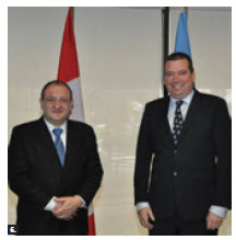 Guatemala Foreign Minister Luis Fernando Carrera visited Ottawa Oct. 24. He met with Foreign Minister John Baird and International Development Minister Christian Paradis, pictured here. (Photo: DFATD)