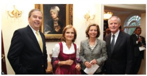 Austrian Ambassador Arno Riedel and his wife Loretta Loria-Riedel hosted a national day reception at their residence. From left, Swiss Ambassador Ulrich Lehner, Mrs. Loria-Riedel, Federica Lehner and Mr. Riedel.