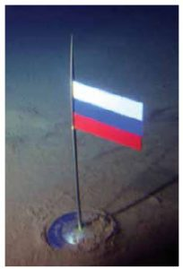 The Russian flag planted in the Arctic seabed.