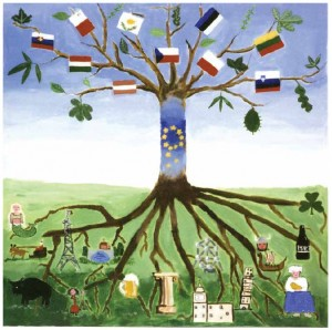 This acrylic painting by a group of students from Nivelles, Belgium, is called The European Tree. It won first prize in a contest designed to help students understand the concept of European citizenship.