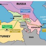 This map shows the existing and planned oil and gas pipelines from Baku, Azerbaijan, including the Baku-Tbilisi-Erzurum pipeline.