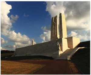 Vimy Ridge is the site of one of the most moving memorials anywhere, a limestone structure built atop Hill 145, inscribed with the names of the 11,285 Canadians who died in France with no known grave.