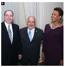 Haitian Ambassador Frantz Liautaud, centre, and his wife, Florence Saint Léger Liautaud, hosted a reception at the Château Laurier to mark Haiti's Independence Day. He's shown here with Richard Sanders, U.S. chargé d'affaires. (Photo: Sam Garcia)