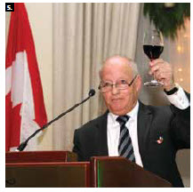 The  Palestine Delegation in Canada hosted a Palestinian Day celebration at the Chateau Laurier. Representative Said Hamad toasts the crowd. (Photo: Sam Garcia)