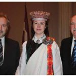 From left, Latvian Ambassador Juris Audarins, first secretary Sanita Ulmane and MP Garry Breitkreuz at a reception to mark Latvia's national day. (Photo: Ulle Baum)
