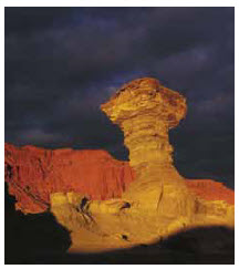 """Ischigualasto, also known as """"Valle de la Luna"""" (Moon Valley) because of the diversity of forms and colours of a landscape shaped by erosion, is one of the world's most important paleontological sites."""