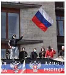 Pro-Russian protesters in the Donetsk People's Republic, proclaimed April 7.