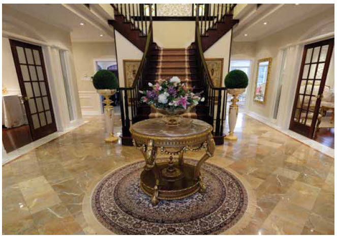 The stunning, high-ceiling front foyer greets visitors to the residence of Mohammed Saif Helal Al Shehhi and his wife, Aseela.