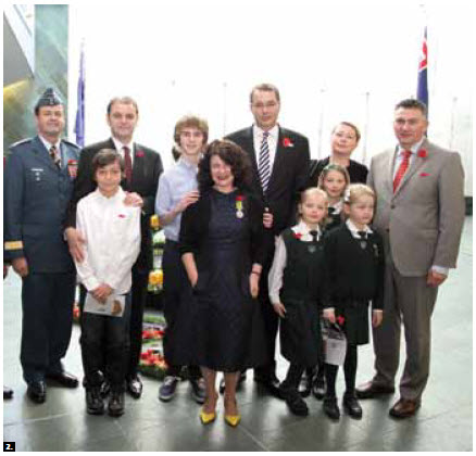 At Anzac Day, back row from left: Chief of Defence Staff Gen. Tom Lawson; Turkish Ambassador Tuncay Babali; Finlay Morrison, son of Adrian Morrison, deputy high commissioner of Australia; New Zealand High Commissioner Simon Tucker and his wife Penny and MP James Bezan. Front row: Cem Babali, Australian High Commissioner Louise Hand and Zara, Lucy and Violeta Tucker. (Photo: Sam Garcia)