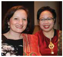 Serbian Chargé d'Affaires Mirjana Sesum-Curcic, left, and Indonesian minister-counsellor Cicilia Rushiharini, attended the Mount Sinabung charitable dinner organized by Friends of Indonesia March 22 at the Holiday Inn. The evening benefited victims of the Mt. Sinabung volcanic eruptions. (Photo: Ulle Baum)