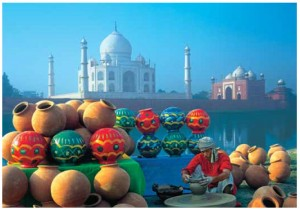 The renowned Taj Mahal in Agra, 200 kilometres southwest of Delhi, sits majestically behind an array of Indian handicrafts.