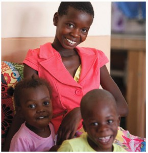 Ottilia with two of her siblings in the SOS Children's Village in Ondangwa, Namibia.