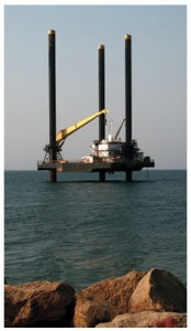 An off-shore petrol platform in Luanda, Angola